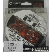 Леска плетёная Shidai Advanced PE X8 100 м 25 LB (0,23 mm) 11,5 кг Л01-00233