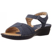 Dr.Scholl Women's Nwalksandal Navy Leather Fashion Sandals - 8 UK/India (41 EU) (6649882)