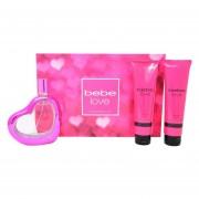 Set Bebe Love 3Pzs 100 ml Edp Spray + Body Lotion 100 ml + Shower Gel 100 ml de Bebe