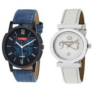 Laurex Blue Analog Leather Watches for Lovely Couple Combo-LX-026-LX-028