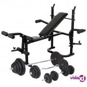 vidaXL Klupa za dizanje utega sa stalkom i setom utega 120 kg