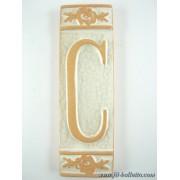 Numero civico ceramica con fiore bianco nfb13