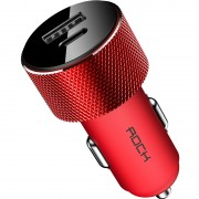 ROCK Sitor Compact PD Type-C + USB A Car Charger Adapter for iPhone iPad Samsung HTC LG Sony Etc - Red