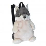 Wild Republic Pluche wolf rugzak/rugtas knuffel 33 cm