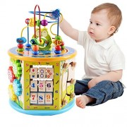Joqutoys Wooden Activity Cube Multifunction Learning Bead Maze 8 In 1 Educational Toy For Kids Activities Center