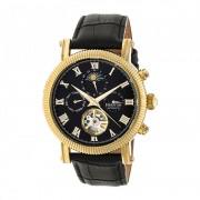 Heritor Automatic Winston Semi-Skeleton Leather-Band Watch - Gold/Black HERHR5204