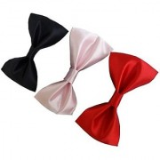 Wholesome Deal Red Black And Pink Colour Neck Bow Tie (Pack of Three)