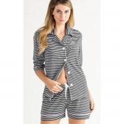 Pijama Feminino Mixte Adulto Cardigan com Short Listrado Preto e Branco