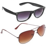 Magjons Fashion Combo Of Black Wayfarer Brown Aviator Sunglasses