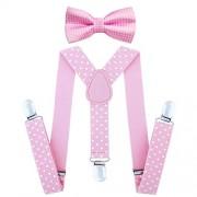 Child Kids Suspenders Bowtie Set - Adjustable Suspender Set for Boys and Girls (Pink Polka dot)