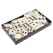 Anbau Double Six Domino Set of 28 Pcs Board Kid Travel Game Toy Black Dot Beige