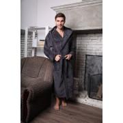 Five Wien Шикарный мужской халат с капюшоном цвета антрацит Five Wien FW1434 антрацит