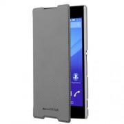 "Sony Xperia Z5 Compact - Husa tip ""Ultra Slim Book Case"", Negru- capac fata cu textura de fibra metalica- constructie ultra-subtire- capac fata cu textura de fibra metalica-interior moale pentru protectia ecranului"