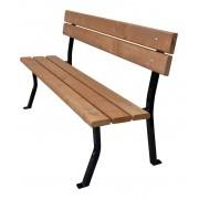 Zahradní lavice NELIA 150 cm s opěrkou, ocel, smrk, lakovaná - 150