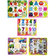 Shopaholic Wooden Educational Colorful Fruits,Numbers,Geometric Shapes,Animals,Vehicles Set of 5 Puzzle Board Game