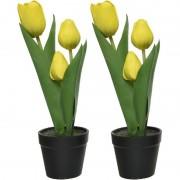 Shoppartners 2x Tulipa tulp kunstplanten groen/geel 27 cm met zwarte pot - Kunstplanten