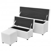 vidaXL 3-dielna biela sada skladovacích lavíc s podnožkou, umelá koža