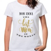 "Wanapix T-Shirt Personnalisé ""The best mom in the world"" pour Fête des Mères"