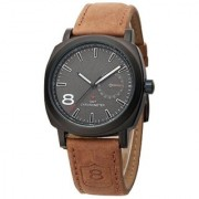 KAYRA Round Dial Brown Leather Strap Mens Watch