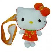 Hello Kitty Shoulder Plush Bag - Orange, Orange/White
