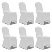 vidaXL Еластични калъфи за столове, бели – 6 броя