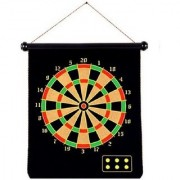 Emob 51cm Large Double Sided Magnetic Hanging Dart Board Game with 6 Darts Roll up Feature Board Game