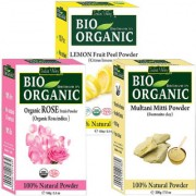 Indus valley Bio Organic Lemon Peel+ Multani Mitti + Rose Petals Powder Combo-Set of 3