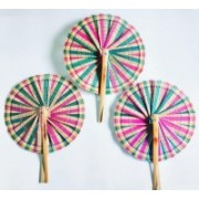 FolksHandcrafts Foldable Solid Multicolor Hand Fan(Pack of 3)