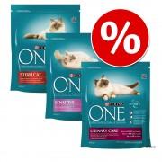 Смесена опаковка: 3 x 800 гр Purina ONE суха храна за котки - Микс Senior