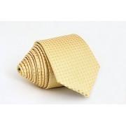 Pánská zlatá slim kravata se čtverečky - 6 cm