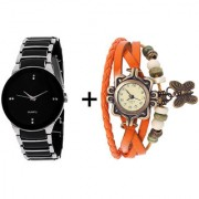 Gtc Combo Of Black Silver Quartz Analog Watch For Man With Orange Designer Leather Analog Watch For Woman
