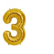 Stylewell Solid Golden Color Single Number (3) 3d Foil Balloon for Birthday Celebration Anniversary Parties