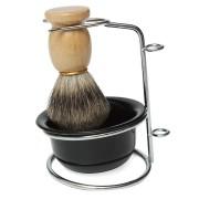 Professional Badger Hair Shaving Brush Black Bowl Stainless Steel Stand Shaving Kits