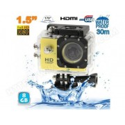 YONIS Caméra sport étanche 30m caméra action Full HD 1080p 12MP Jaune 8Go