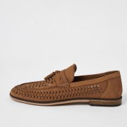 river island Mens Brown leather woven tassel loafers (10)