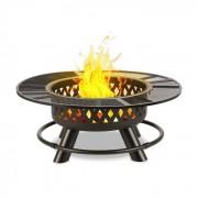 Blumfeldt Rosario 3 az 1-ben tűzrakó tál, Ø 120 cm, 70 cm-es grillsütő, asztallap, acél (GQ15-Rosario)