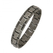 The Jewelbox Italian Geometric Black 316L Surgical Stainless Steel Openable Free Size Bracelet Boys Men