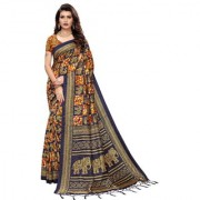 Indian Beauty Women's Blue Color Mysore Silk Printed Saree Border Tassels With Blouse Piece(SUNG-BLUE_Free Size)(In 4 Colors Available)