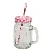 Geen Rood/witte glazen drinkpotje met rietje 450 ml