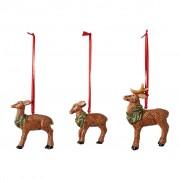 Villeroy & Boch Nostalgic Ornaments ensemble d'ornements famille de cerfs, 7 x 6 cm, 3 pièces