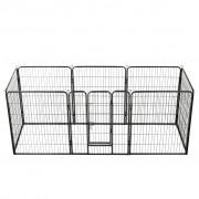 vidaXL fekete színű acél kutyakennel 8 panelből 80 x 100 cm
