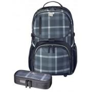 Rucsac Be.Bag + necessaire Cube carouri negru/gri/ Herlitz