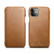 ICARER Genuine Leather Folio Flip Phone Case for Apple iPhone 11 6.1 inch - Brown