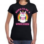 Bellatio Decorations Born to be a unicorn gay pride t-shirt zwart dames
