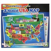 Puzzlebug Learning 2 Sided 60 Piece Puzzle Usa Map