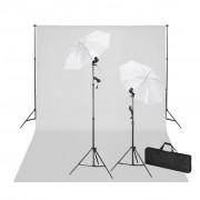 vidaXL Kit studio: fundal alb 600 x 300 cm & lumini