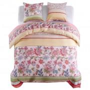 vidaXL Комплект спално бельо, цветя/ивици, розово, 200x200/80x80 см
