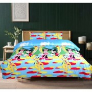 BSB Trendz 5D Micky Mouse Print Double Bedsheet With 2 Pillow Covers -Blue