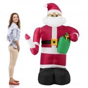 [en.casa]® Надуваем Дядо Мраз, който маха -193 см. с LED осветление