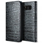 Verus Genuine Croco Diary Case - кожен калъф (естествена кожа), тип портфейл за Samsung Galaxy S8 (сив)
